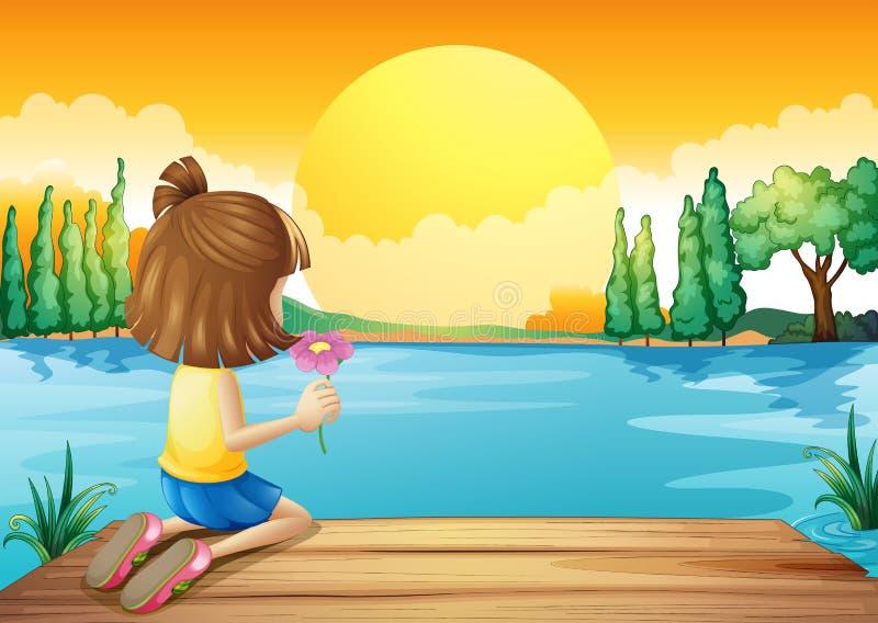 Uma menina que guardara uma flor que enfrenta no rio ilustração do vetor