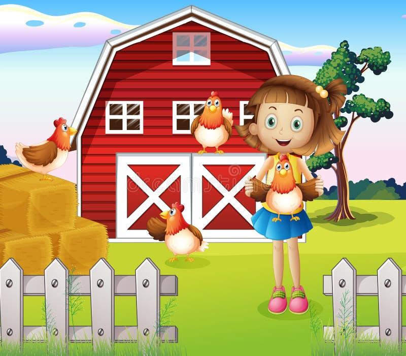 Uma menina que guardara uma galinha na exploração agrícola ilustração stock