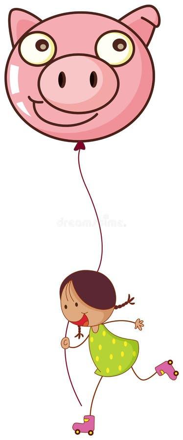 Uma menina que joga com seus rolos ao guardar um balão do porco ilustração royalty free