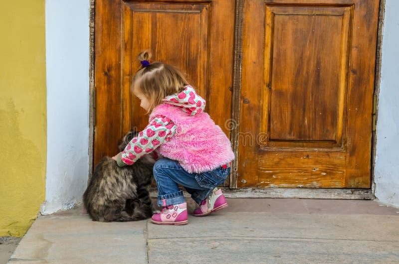 Uma menina que joga com um gato fotos de stock royalty free