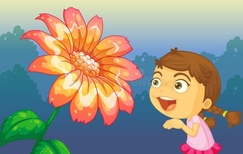 Uma menina que joga na frente da flor gigante ilustração stock