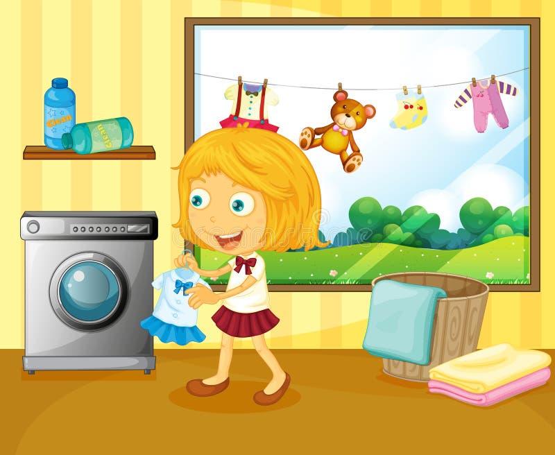Uma menina que lava a roupa ilustração royalty free