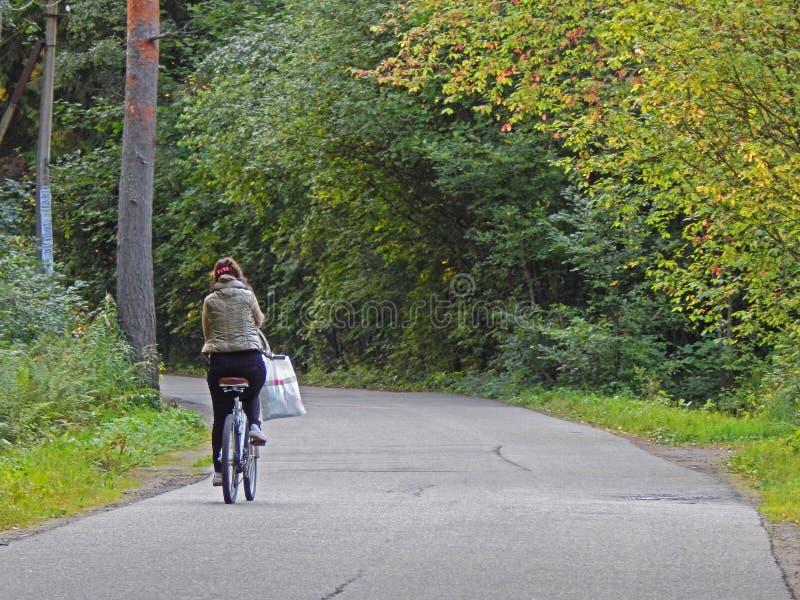 Uma menina que monta uma bicicleta em uma estrada de floresta foto de stock