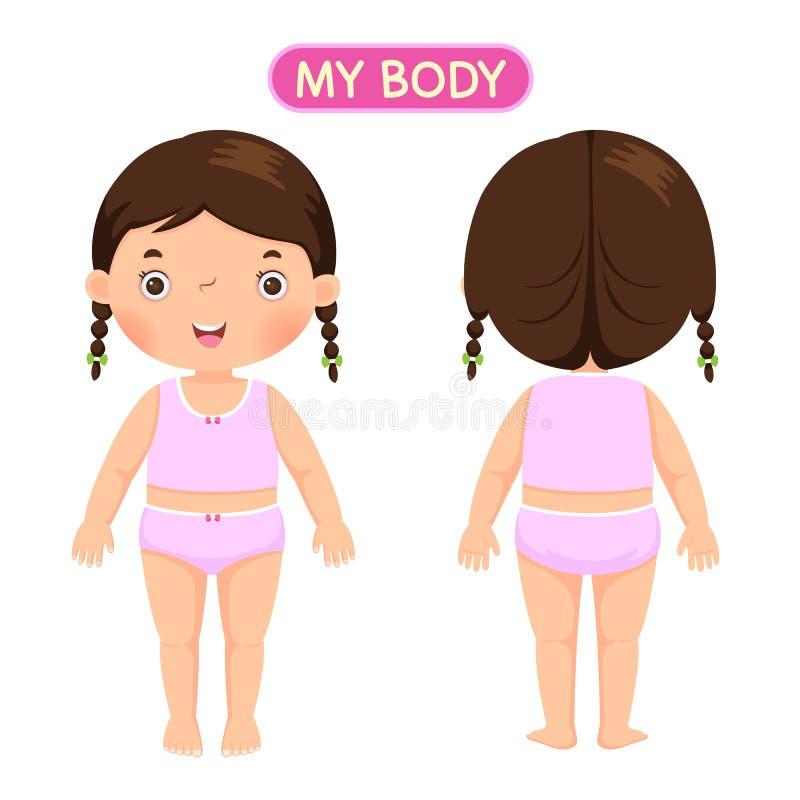 Uma menina que mostra partes do corpo ilustração royalty free