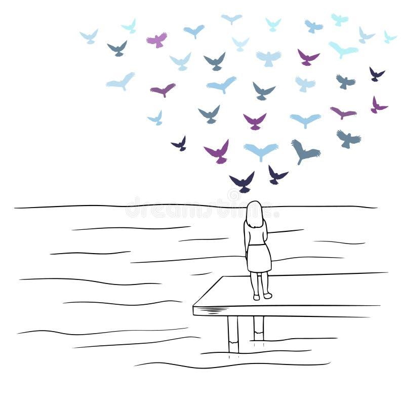 Uma menina que olha o mar com os pássaros coloridos que voam no céu ilustração royalty free