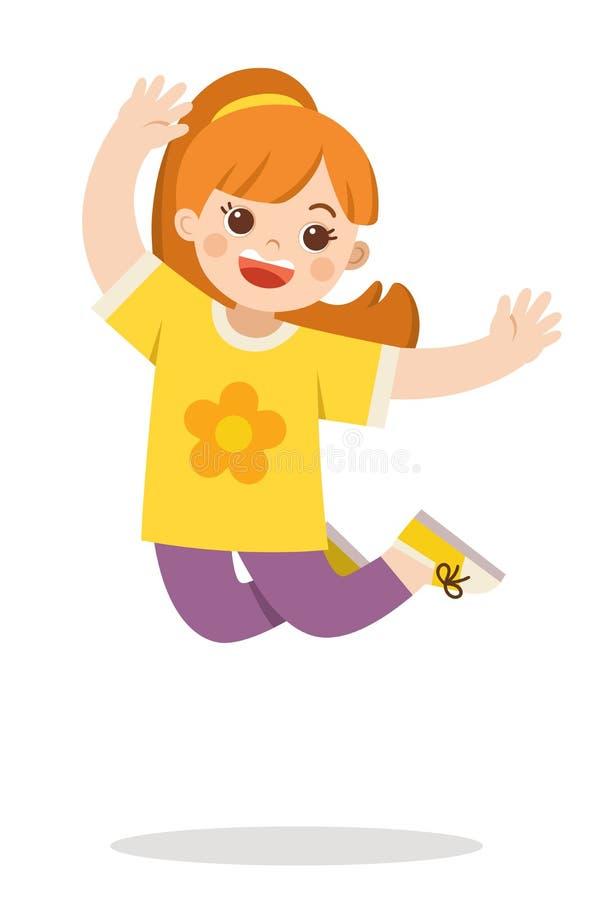 Uma menina que salta no fundo ilustração stock