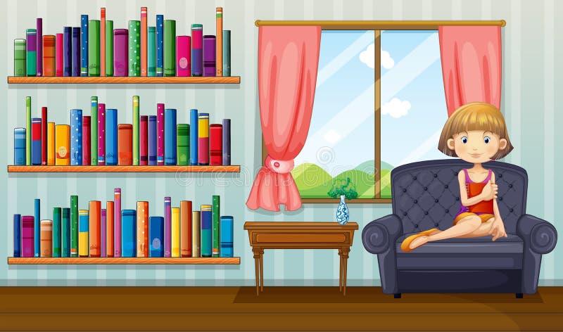 Uma menina que senta-se em um sofá que guardara um livro dentro da casa ilustração do vetor