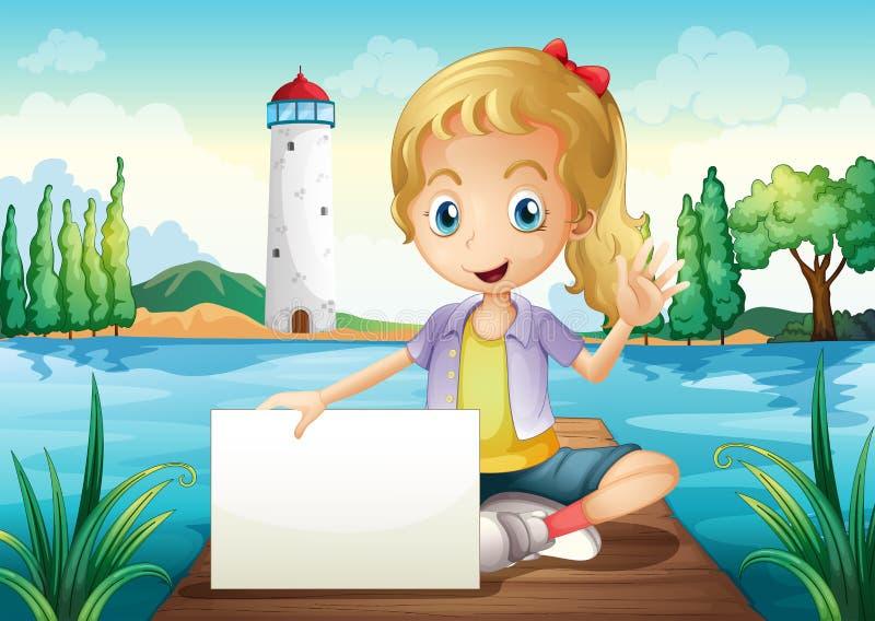 Uma menina que senta-se na placa de mergulho que guarda um signage vazio ilustração do vetor