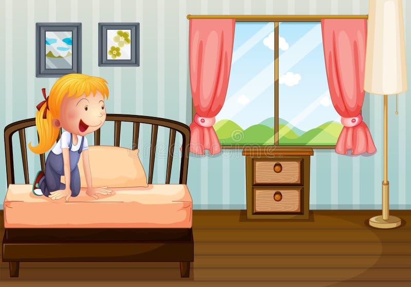 Uma menina que sorri em sua sala ilustração stock