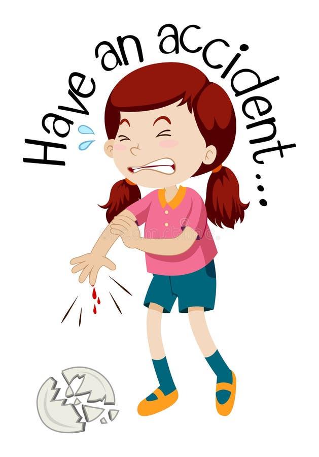 Uma menina que tem um acidente ilustração royalty free