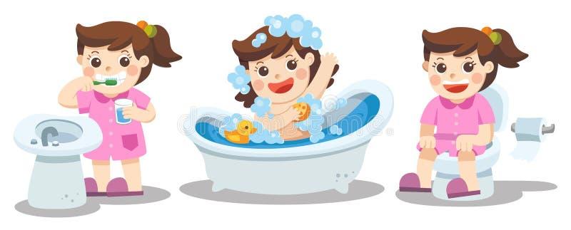 Uma menina que toma um banho, dentes de escovadela, sentando-se no toalete ilustração royalty free