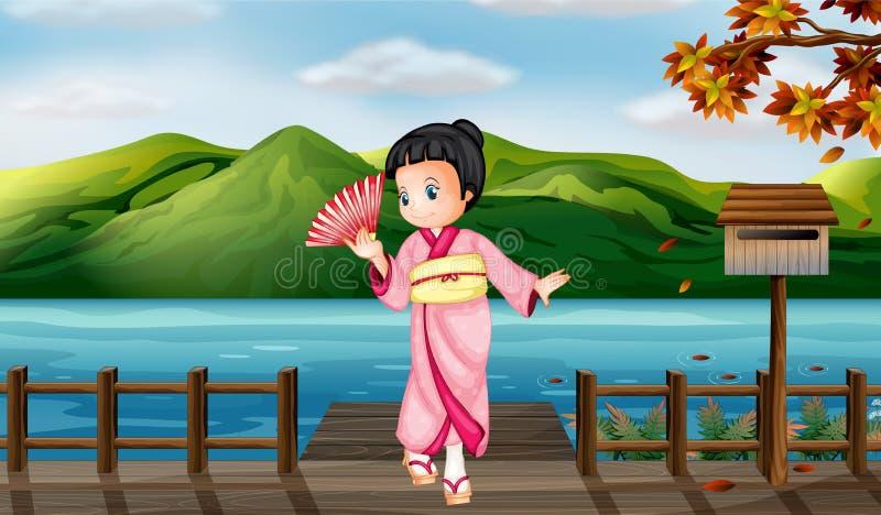 Uma menina que veste um vestido chinês com uma caixa postal de madeira ilustração royalty free