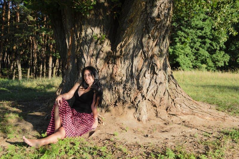 Uma menina sob a árvore imagens de stock