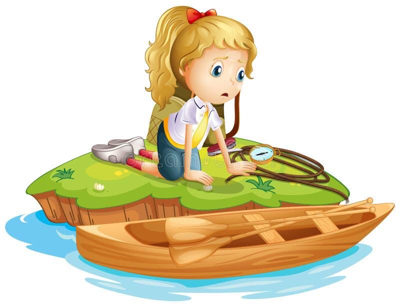 Uma menina triste prendida em uma ilha ilustração royalty free