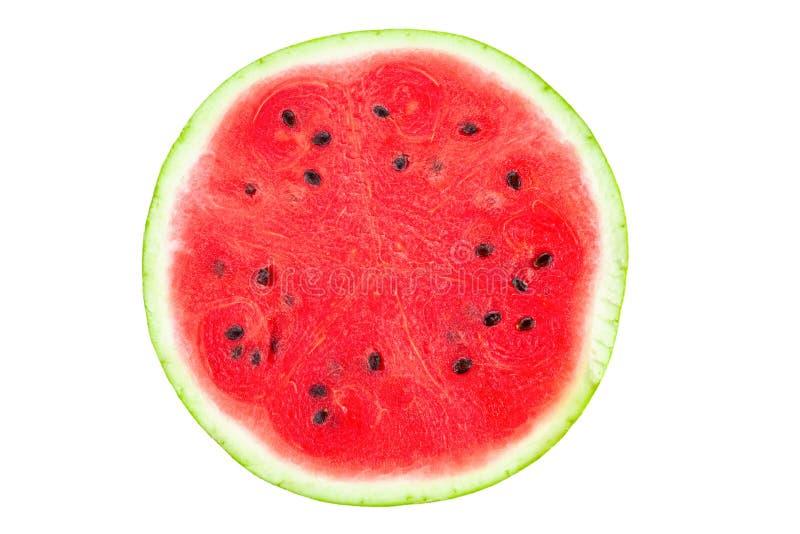 Uma metade da melancia fresca isolada no fundo branco imagens de stock royalty free
