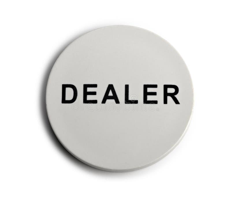 Uma microplaqueta do negociante, parte de um jogo de póquer home fotografia de stock