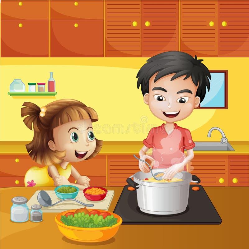 Uma moça e um menino na cozinha ilustração royalty free