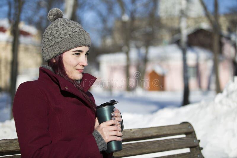 Uma moça em um revestimento de Borgonha e em um chapéu cinzento senta-se em um woode fotos de stock royalty free