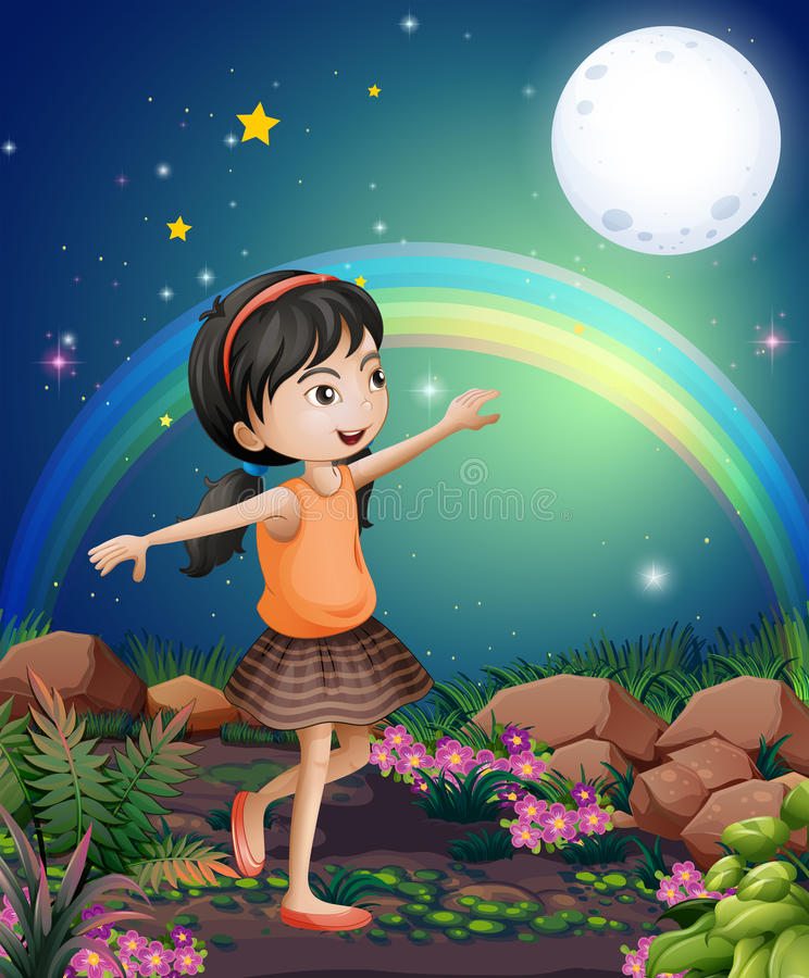 Uma moça feliz que joga perto das flores ilustração do vetor