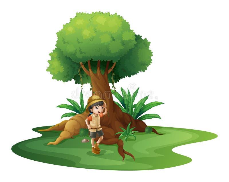 Uma moça perto da árvore gigante ilustração do vetor