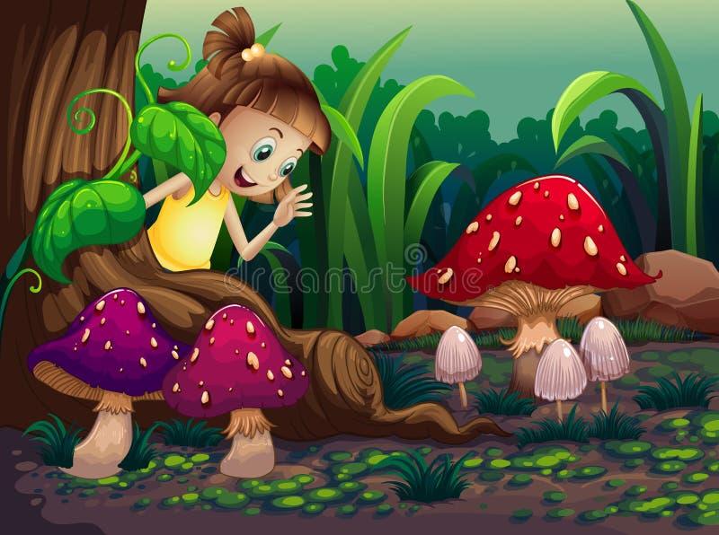 Uma moça perto das raizes da árvore gigante ilustração stock