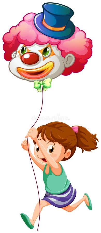 Uma moça que corre com um balão do palhaço ilustração royalty free