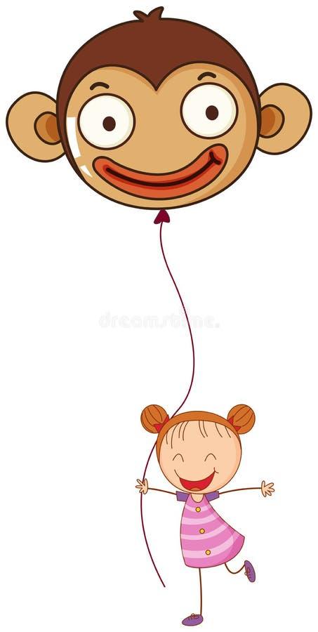 Uma moça que guarda um balão do macaco ilustração stock