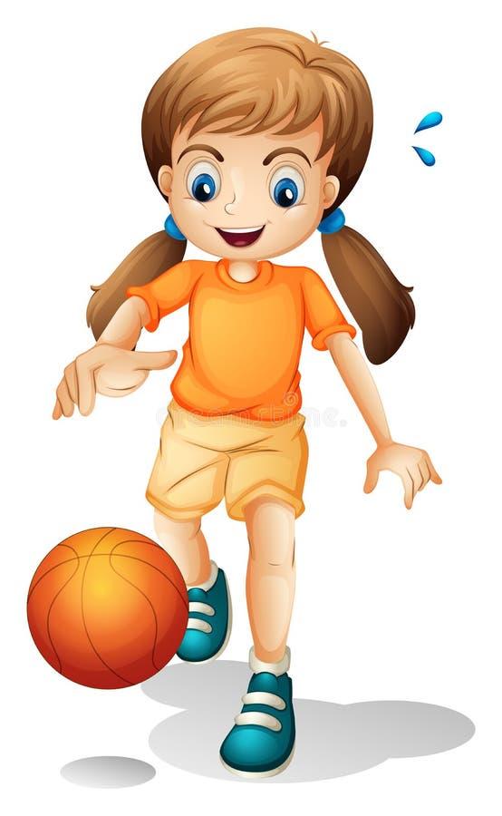 Uma moça que joga o basquetebol ilustração stock