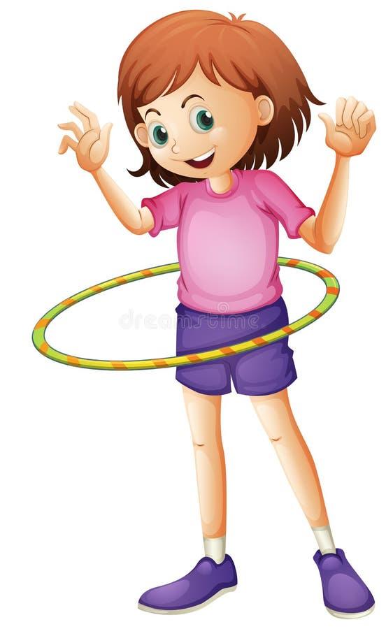 Uma moça que joga o hulahoop ilustração do vetor