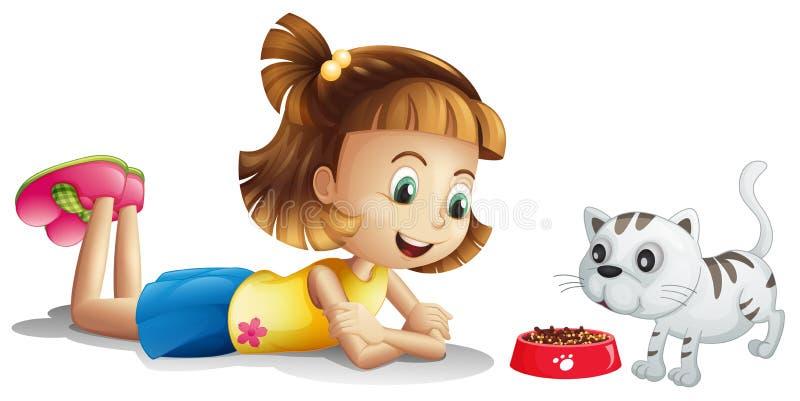 Uma moça que olha seu comer do animal de estimação ilustração stock