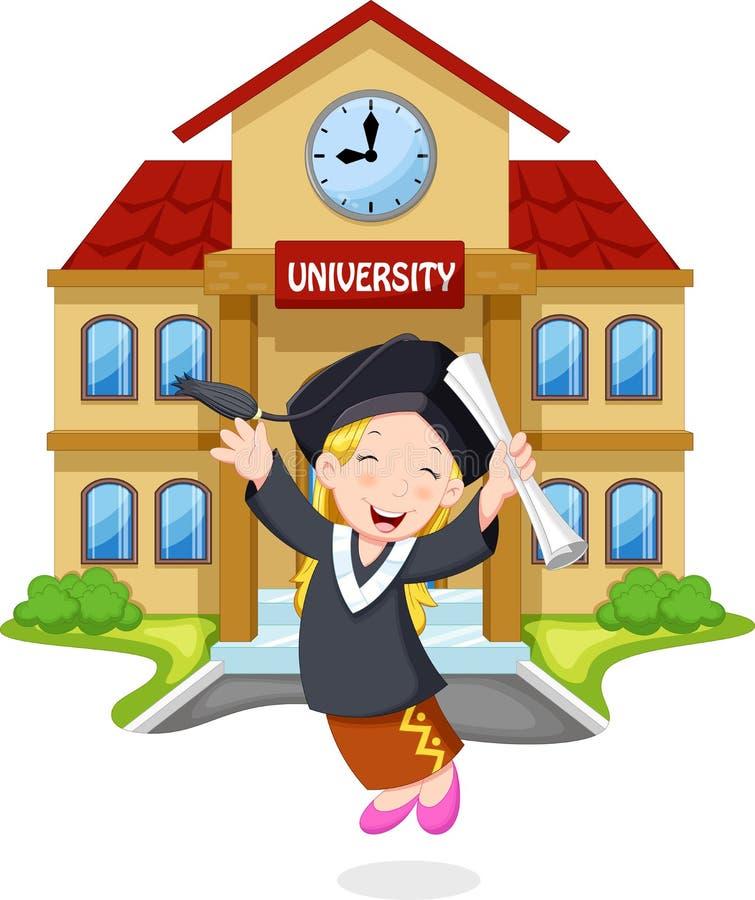 Uma moça salta para os graduados da alegria que guardam certificados ilustração stock