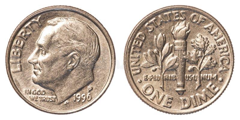 Uma moeda americana da moeda de dez centavos fotografia de stock royalty free