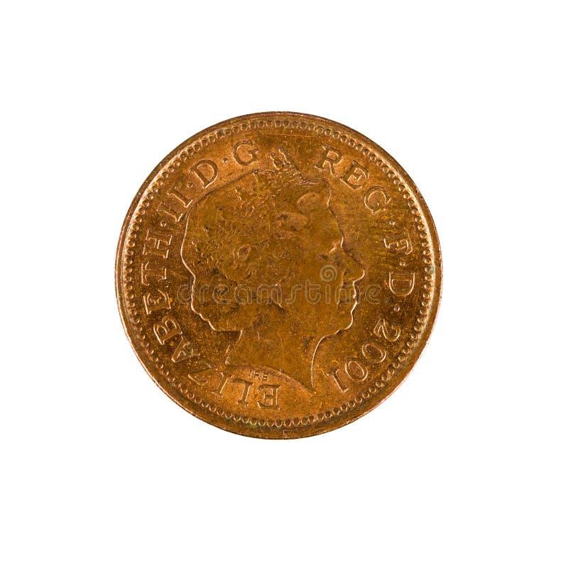 Uma moeda britânica 2001 da moeda de um centavo isolada foto de stock