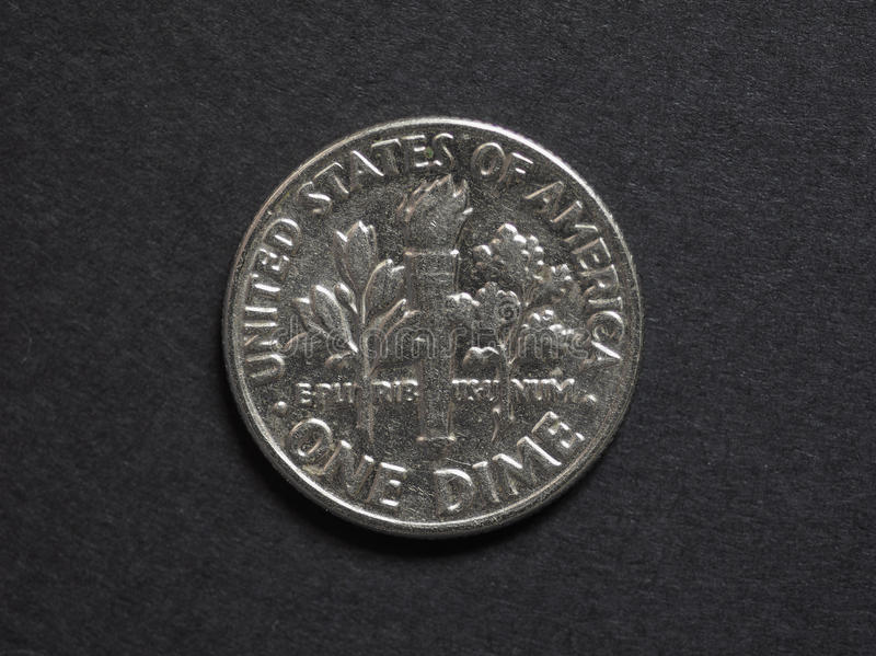 Uma moeda da moeda de dez centavos fotografia de stock