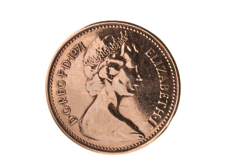 Uma moeda da moeda de um centavo (britânica) imagens de stock royalty free