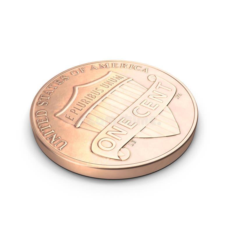 Uma moeda da moeda de um centavo isolada sobre o branco 3D ilustração, trajeto de grampeamento ilustração royalty free