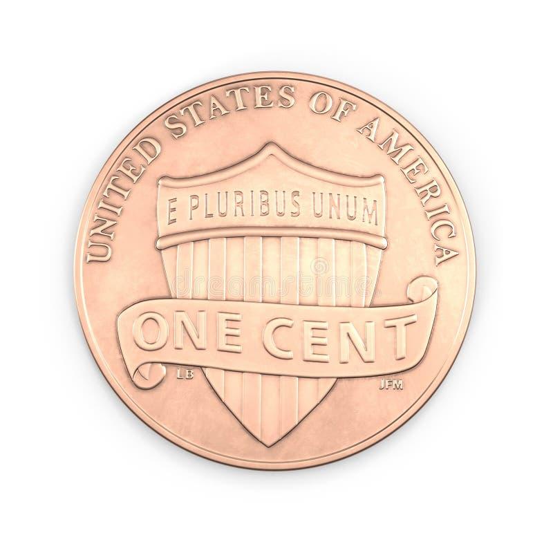 Uma moeda da moeda de um centavo isolada sobre o branco 3D ilustração, trajeto de grampeamento ilustração stock