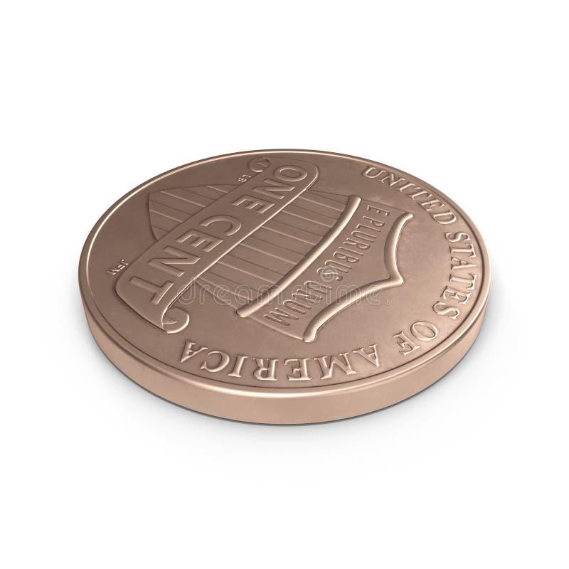 Uma moeda da moeda de um centavo isolada sobre o branco 3D ilustração, trajeto de grampeamento ilustração do vetor
