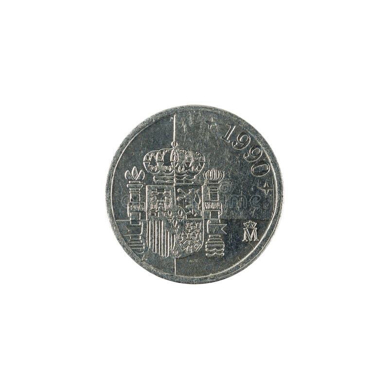Uma moeda 1990 da peseta espanhola isolada no fundo branco foto de stock royalty free