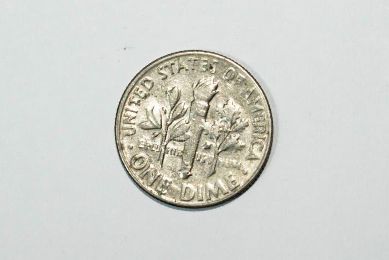 Uma moeda de dez centavos americana, centavo dos EUA dez fotos de stock