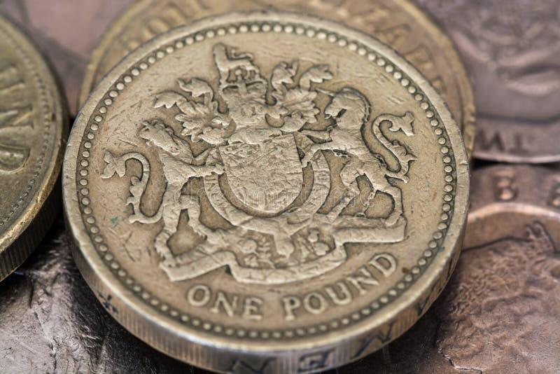 Uma moeda de libra imagens de stock