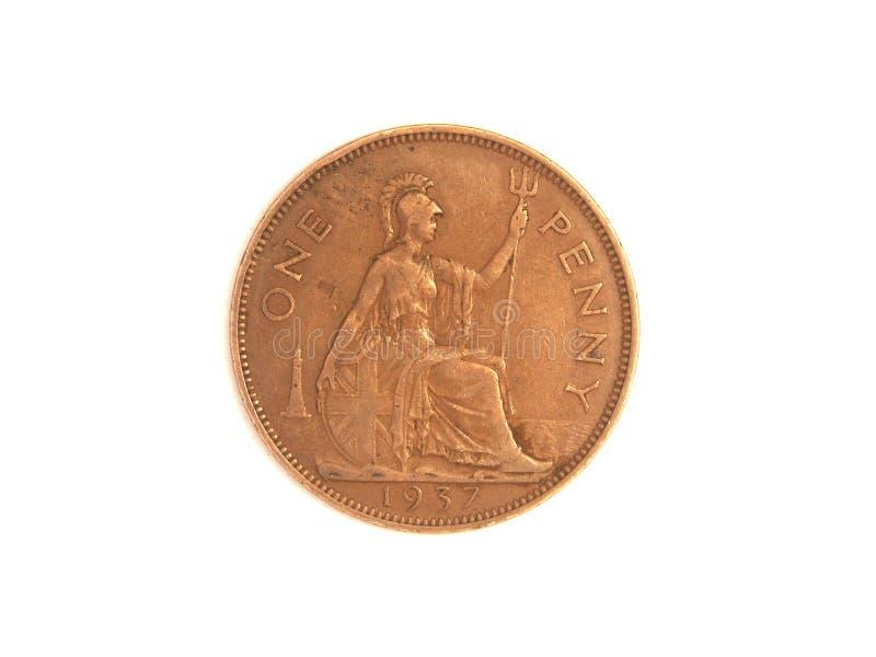 Uma moeda de um centavo ilustração stock