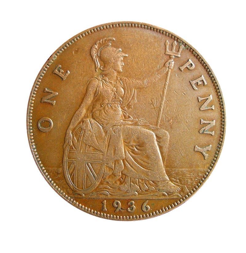 Uma moeda de um centavo imagens de stock