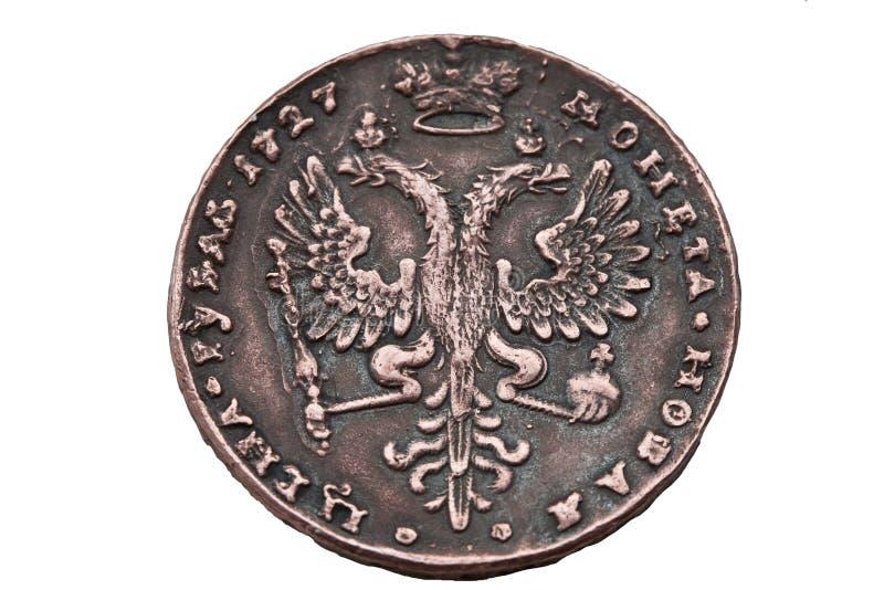 Uma moeda do rublo de 1727 anos. imagem de stock royalty free