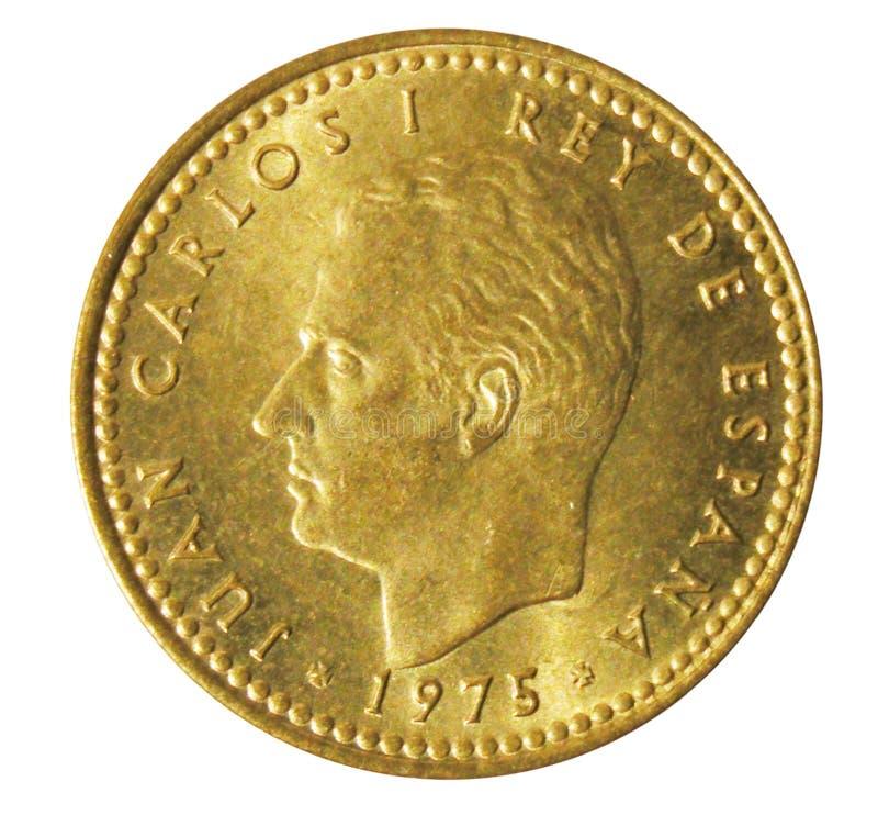 Uma moeda velha do espanhol da peseta obverse fotografia de stock