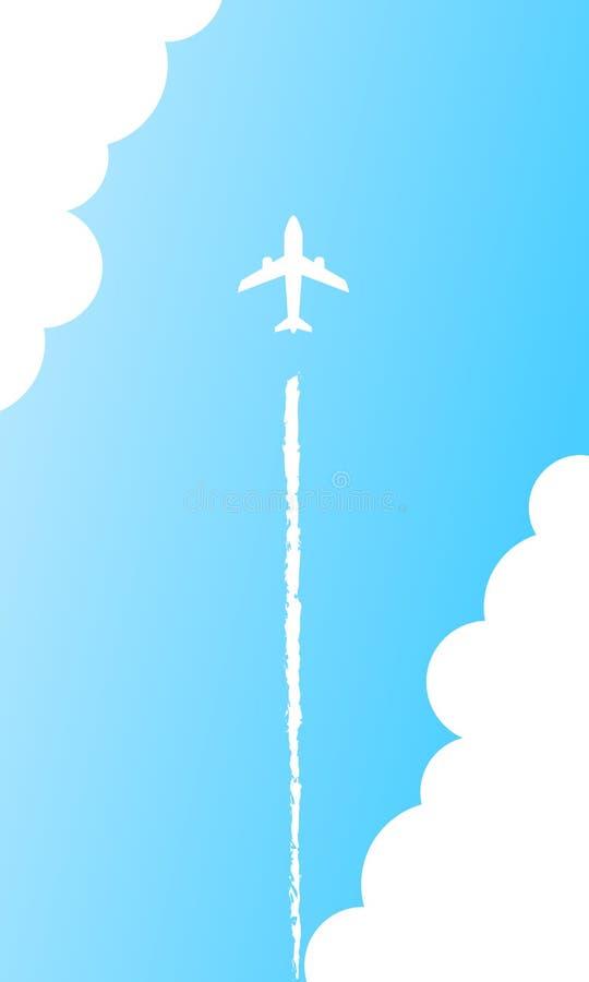 Uma mosca plana no fundo do céu azul com fuga do vapor Avião do jato no céu azul limpo ilustração stock
