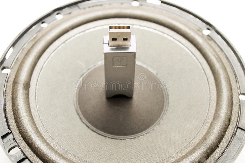 Uma Movimentação Instantânea USB E Orador Foto de Stock