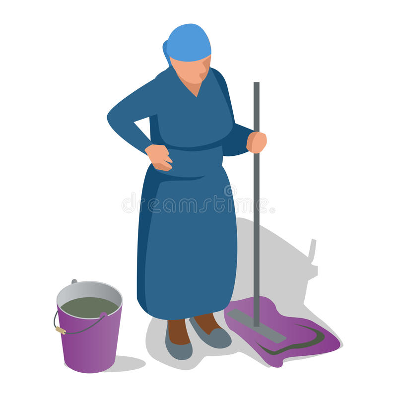 Uma mulher adulta com um espanador em sua mão e em uma cubeta está limpando Ilustração isométrica lisa do vetor ilustração do vetor