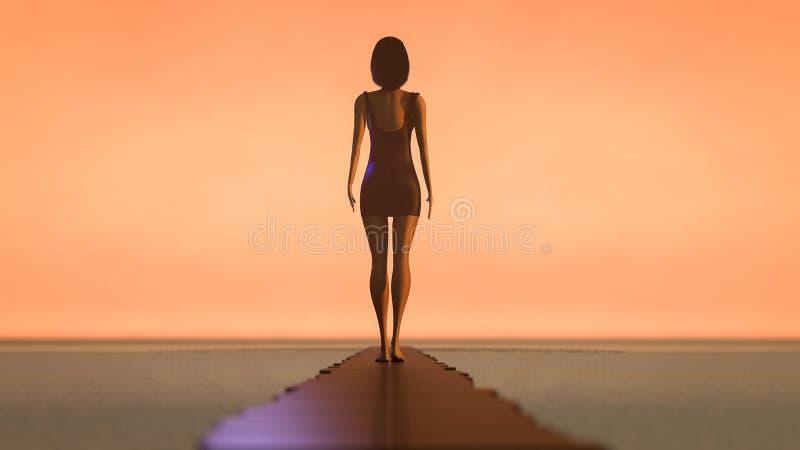 Uma mulher anda ao longo de uma rendição longa da passagem 3d ilustração royalty free