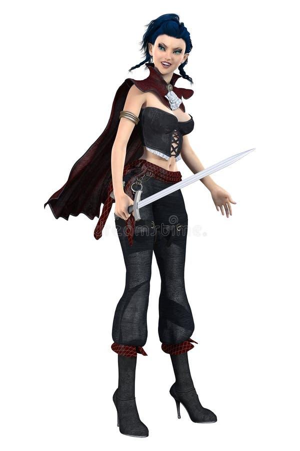 Uma mulher bonita do guerreiro de onze fantasia que guarda uma espada Particularmente apropriado para o projeto da arte da capa d ilustração do vetor